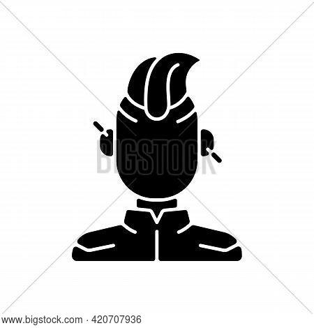 Cyberpunk Person Black Glyph Icon. Punk Subculture, Goth Teenager. Cyberpunk Movie, Game. Futuristic