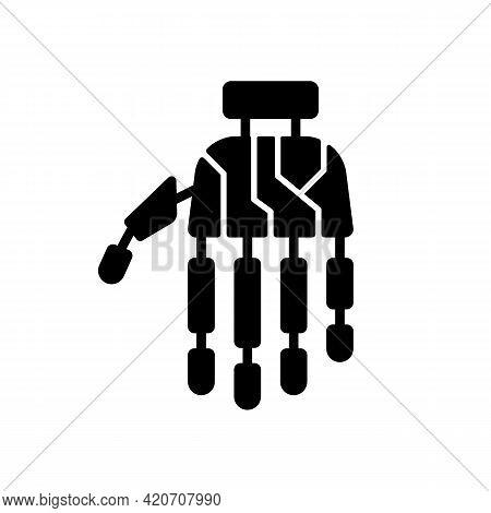 Bionic Limb Black Glyph Icon. Innovative Arm Prosthetics. Hand Prosthesis With Microchips. Cyberpunk