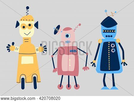 Funny Friendly Robots. Cute Retro Cartoon Toy Humanoids With Programmed Intelligence Isolated On Gre