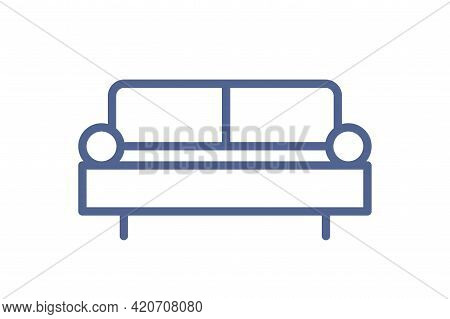 Simple Sofa Icon In Line Art Style. Outline Pictogram Of Comfortable Couch In Lounge Area Or Living