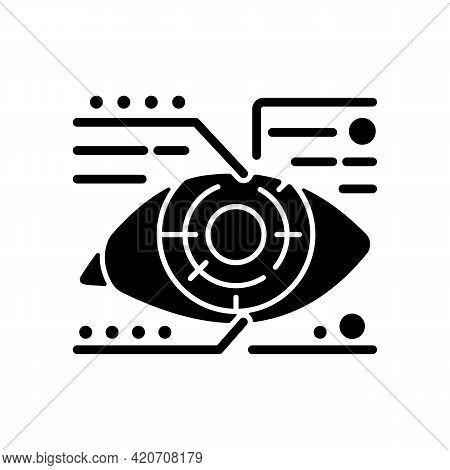 Lens Microcircuit Black Glyph Icon. Android Eye With Specs Info. Cyberpunk, Sci Fi. Futuristic Techn