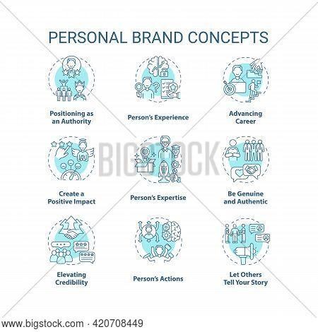 Personal Brand Blue Concept Icons Set. Advancing Career. Positive Impact. Skills Improvement. Self P
