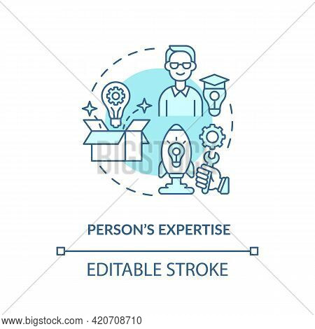 Person Expertise Blue Concept Icon. Essential Business Knowledge. Skills Improvement. Professional W