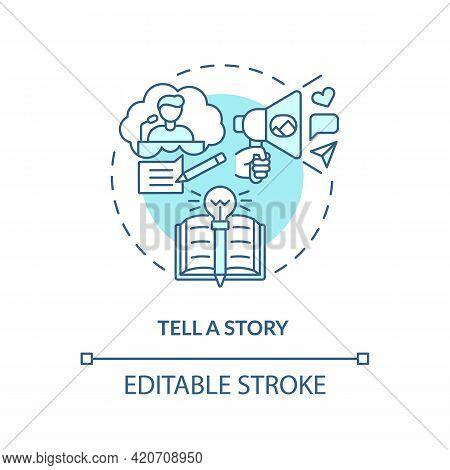Tell Story Blue Concept Icon. Define Your Principles. Brand Storytelling. Engaging Target Audience I