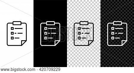 Set Line Clipboard With Checklist Icon Isolated On Black And White, Transparent Background. Control