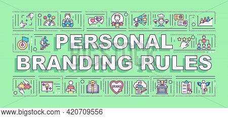 Personal Branding Rules Word Concepts Banner. Bloggers Smm Development. Infographics With Linear Ico