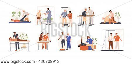 Therapists Helping Patients During Physio Therapy And Rehabilitation Set. Physiotherapy Treatment Fo