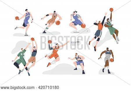 Set Of Male And Female Basketball Players Playing With Ball, Throwing It Into Net, Dribbling And Dun