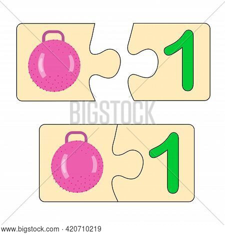 Educational Game For Kids. Find Right Picture For Number. Puzzle With Number One And Toy Ball. Puzzl