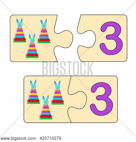 Educational Game For Kids. Find Right Picture For Number. Puzzle With Number Three And Pyramids. Puz