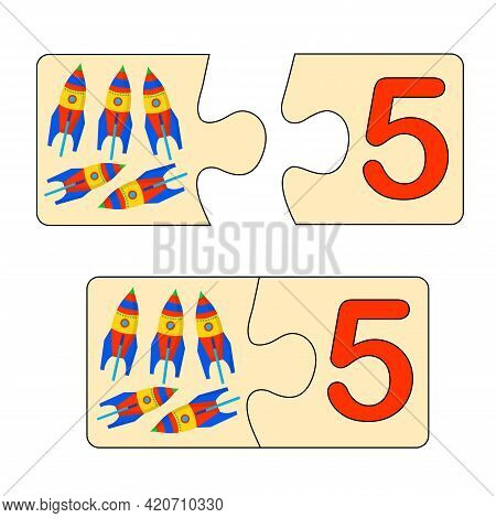 Educational Game For Kids. Find Right Picture For Number. Puzzle With Number Five And Toys Rockets.