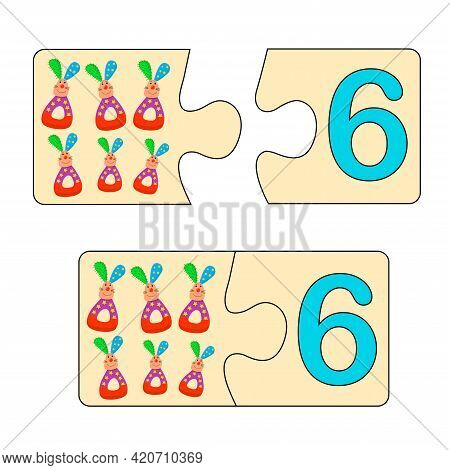 Educational Game For Kids. Find Right Picture For Number. Puzzle With Number Six And Toys Soft Rabbi