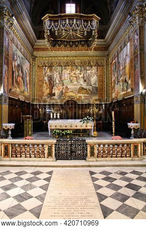 Rome, Italy - April 10, 2012: Interior View Of Church Of Saint Jerome Of The Croats In Rome, Italy.