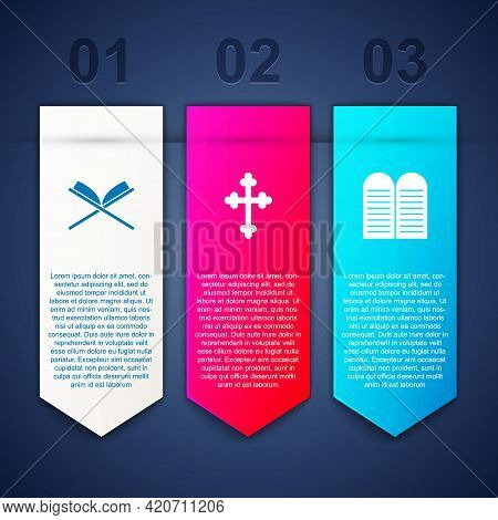 Set Holy Book Of Koran, Christian Cross And The Commandments. Business Infographic Template. Vector