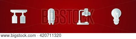 Set Led Track Lights And Lamps, Light Emitting Diode, Table And Bulb Icon. Vector