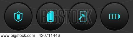 Set Mobile With Shield, Glass Screen Protector, Broken And Battery Icon. Vector