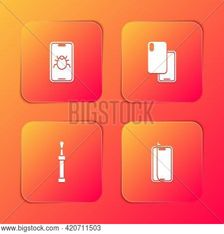 Set System Bug On Mobile, Smartphone, Screwdriver And Glass Screen Protector Icon. Vector