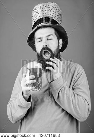 Man Brutal Bearded Hipster Drink Beer. Irish Pub. Drinking Beer Part Celebration. Fest And Holiday M