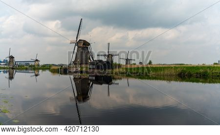 View Of Historic 18-century Windmills At Kinderdijk In South Holland