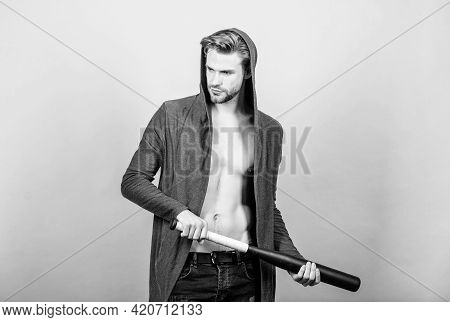 Hooligan Man Hits The Bat. Bandit Gang And Conflict. Aggression And Anger. Man With Baseball Bat. Se