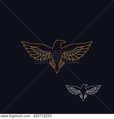 Eagle As A Logo Design. Illustration Of An Eagle As A Logo Design On A Dark Background