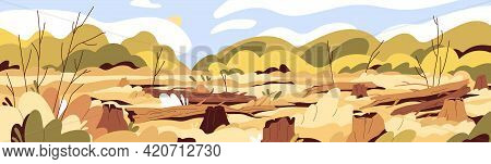 Deforestation And Forest Devastation Concept. Landscape Of Drought In Deserted Wood With Felled Tree