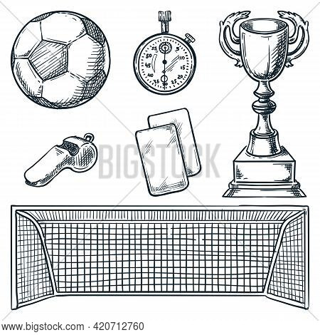 Soccer Sports Equipment. Vector Hand Drawn Sketch Illustration. Football Ball, Goal, And Cards Icons