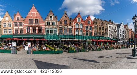 Panorama View Of The Restaurants And Historic Buildings On The Markt In Brugge