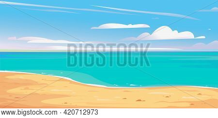 Deserted Shore Beach Banner. Beautiful Vector Illustration. Blue Sky And Sandy Shore. Summer Vacatio
