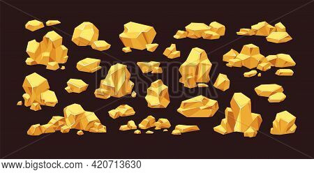 Set Of Isolated Gold Mine Nuggets And Rocks. Piles And Heaps Of Golden Gem Stones. Solid Jewels Of N