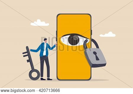 Data Privacy For Internet User, Protect Application To Track Or Follow User Behavior Concept, Man Ho