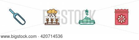 Set Scoop Flour, Plant Sprouts Grow In The Rain, Seed And Pack Full Of Seeds Of Plant Icon. Vector