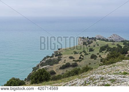 A Small Plateau At The Top Of Cape Alchak. Sudak, Crimea. Cloudy Day At The End Of April.