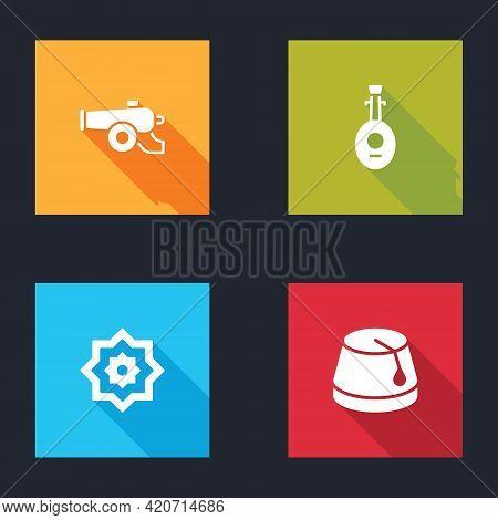 Set Ramadan Cannon, Lute, Octagonal Star And Turkish Hat Icon. Vector