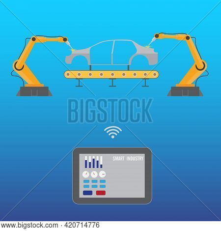 Tablet Controls Robotic Welding Arm On Car Assembly Production Line