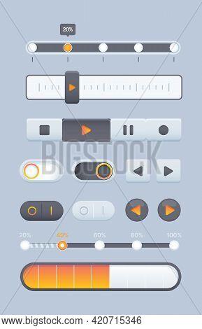 Web Sliders. Online Pages Ui Navigation Elements Buttons Dynamic Sliders And Dividers Equalizer Gari
