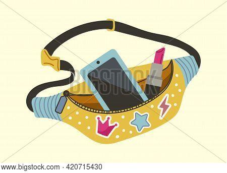 Waist Bag. Cartoon Lady Accessory, Modern Purse With Fashion Decoration. Funny Girly Stylish Vector
