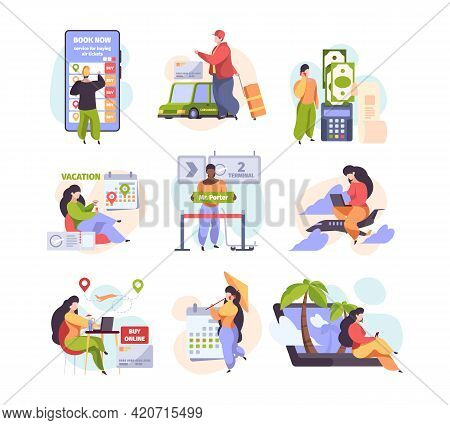 Online Booking Service. Smart Travellers Buy Fly Ticket Internet Purchase Travel Hotel Services Car