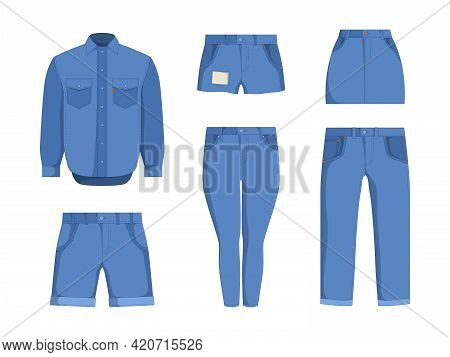 Denim Clothes. Jeans Textile Pants Jackets Outfit Fashion For Male And Female Casually Teenage Cloth