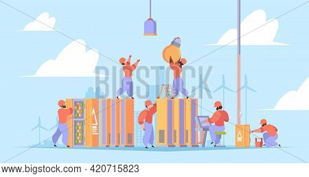 Workers Install Electric. Electrician Workers Repair Processes Engineering Perfect Hard Job Garish V