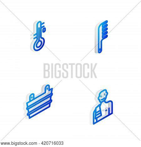 Set Isometric Line Hairbrush, Sauna Thermometer, Bucket And Man In Sauna Icon. Vector