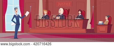 Courtroom. Judges In Uniform Sitting At Court Lawyers Workers At Table Exact Vector Cartoon Backgrou