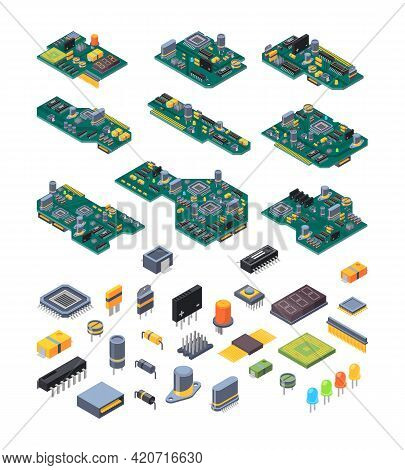 Microchip Hardware. Manufacturing Computer Power Green Motherboards With Small Chip For Electronic D