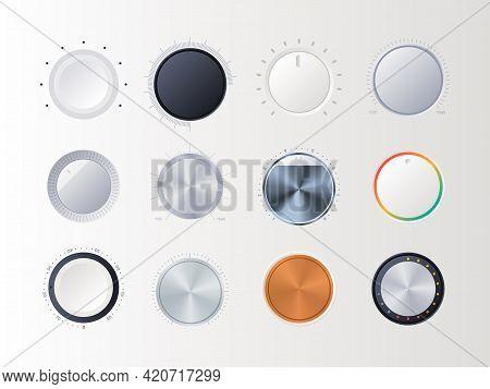 Round Volume Controllers. Radial Amplifier Indicators Digital Sound Music Tuner Items Garish Vector