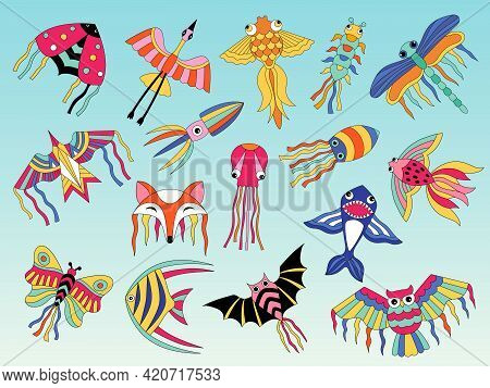 Kites Animals. Flying Colored Kites For Happy Kids Air Attractions Outdoor Recent Vector Flat Pictur