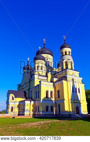 Monastery Hincu ,full Size Photography . Famous Place Of Worship In Moldova . Orthodox Church With C