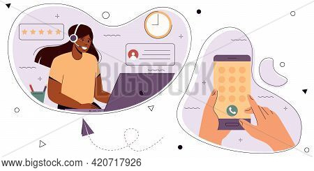 Hand With A Smartphone Dials The Phone Number Of The Support Service.  Customer Support Concept. Onl