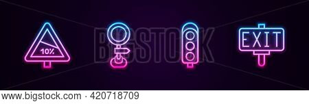 Set Line Steep Ascent And Descent Road, Road Traffic Sign, Traffic Light And Fire Exit. Glowing Neon