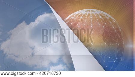 Animation of layer with sky revealing globe with network of connections. global business and networking concept digitally generated image.