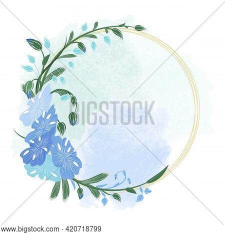Round Wreath Of Flax Flowers, Stems, Buds And Golden Rings. Blue Flax In The Form Of A Frame For Car